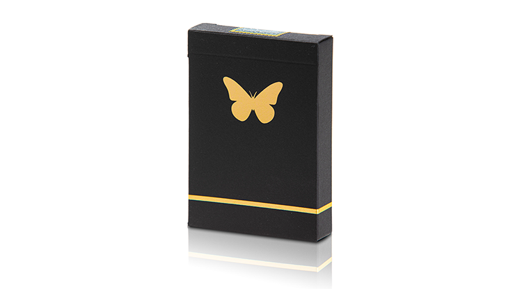 butterfly playing cards black and gold